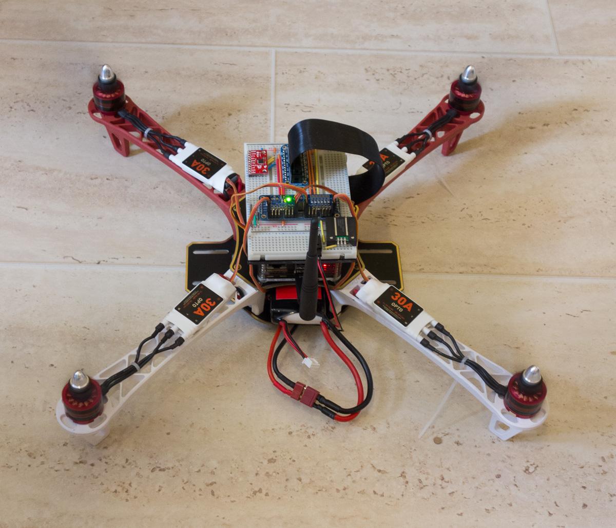 Quadcopter with the raspberrypi skyspy raspberry pi pod