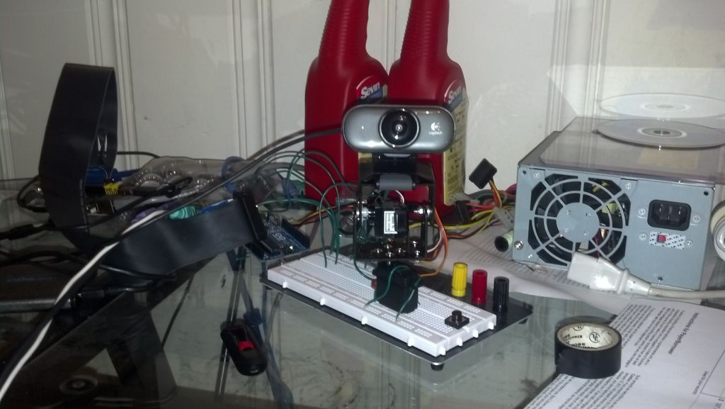 Tracking faces with a webcam and servos with the for Pan tilt stepper motor