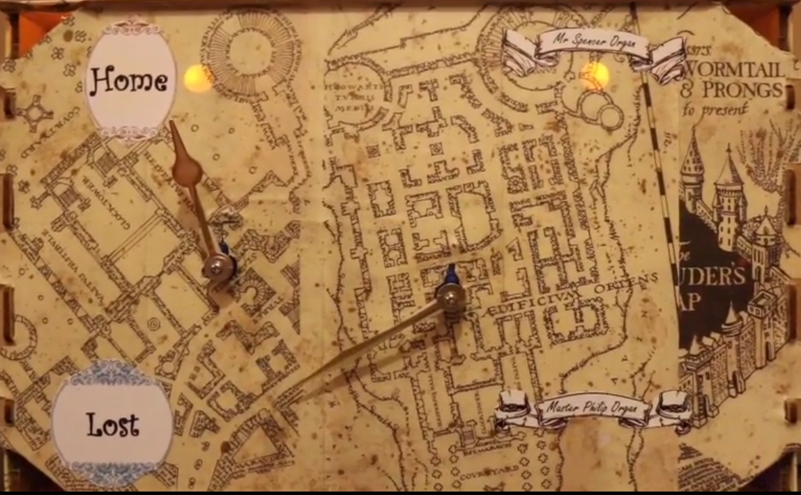 Harry Potter-inspired map-clock using a Raspberry Pi and ... on secret s map harry potter, map in game of thrones, map harry potter books, fictional map harry potter,