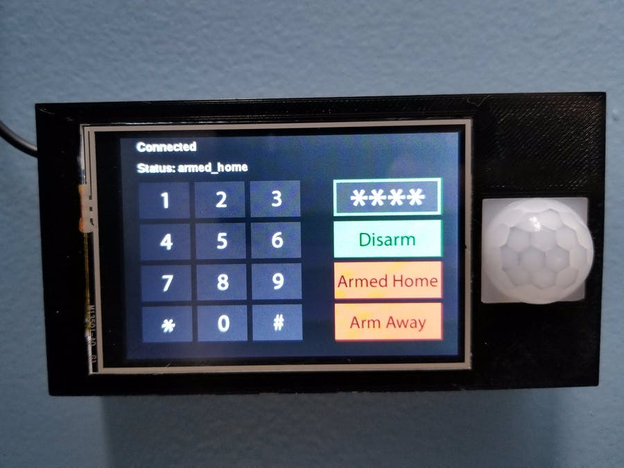 Touchscreen home alarm control panel for Home Assistant and