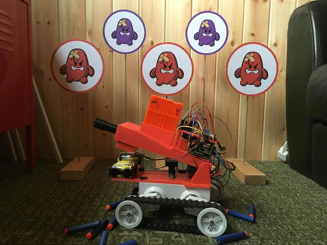 David Pride has taken a Raspberry Pi, a ZeroBorg motor controller, a  disassembled Nerf gun and a robot chassis and made a drive-able shooting  platform.