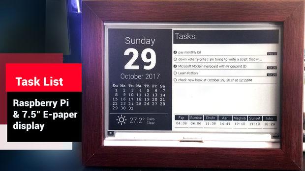 E-paper to-do list and calendar displayed using a Raspberry